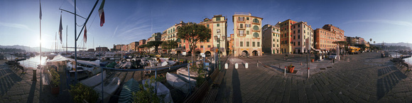 Santa Margherita in Liguria. Dawn at the docks view.